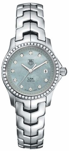WJF131F.BA0572 NEW TAG HEUER LINK LADIES WATCH IN STOCK   - FREE Overnight Shipping | Lowest Price Guaranteed    - NO SALES TAX (Outside California)- WITH MANUFACTURER SERIAL NUMBERS- Light Blue Mother of Pearl Diamond Dial - Diamond Bezel - 63 Full Cut Diamonds (0.45 carat) - Top Wesselton (F-G) Color Grade - Certified VVS - IF Diamond Clarity - Battery Operated Quartz Movement- 3 Year Warranty- Guaranteed Authentic- Certificate of Authenticity- Scratch Resistant Sapphire Crystal- Polished…