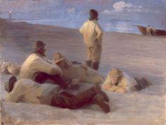 Krøyer 'Fishermen at Skagen Beach', 1883 Writers And Poets, Scandinavian Art, Favorite Words, Skagen, Beach Scenes, Fishing Boats, Polar Bear, Danish, Norway
