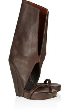 Cutout textured-leather wedge boots by Rick Owens