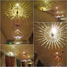 Awesome chandeliers made from deconstructed paper umbrellas!