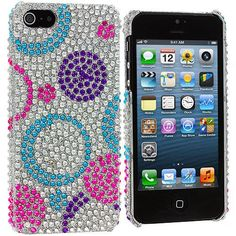 Circles Purple / Silver Bling Rhinestone Case Cover for Apple iPhone 5 / 5S