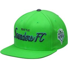 c81e6a99f43 Men s Seattle Sounders FC Mitchell  amp  Ness Rave Green Special Script Snapback  Hat