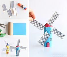 Make a paper roll windmill from a toilet paper roll! This is such a fun kids craft and the blades actually spin! Such a cool windmill craft and a great way to e Fun Crafts To Do, Craft Projects For Kids, Paper Crafts For Kids, Diy For Kids, Diy Projects, Quick Crafts, Craft Ideas, Windmill Diy, Paper Windmill