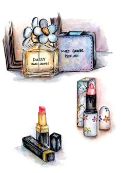 Hand painted perfume and lipstick,makeup Marc Jacobs Daisy Perfume, Beauty Illustration, Cute Illustration, Makeup Clipart, Makeup Poster, Makeup Wallpapers, Beautiful Perfume, Beauty Art, Fashion Illustrations