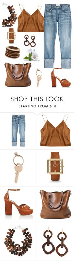 """""""For my lover."""" by schenonek ❤ liked on Polyvore featuring Current/Elliott, Maison Margiela, FOSSIL, Tabitha Simmons, Carolee and NEST Jewelry"""