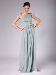 One Shoulder Pleated Chiffon Bridesmaid Dress | Plus and Petite sizes available! Hundreds of styles, tons of colors!
