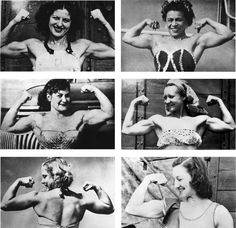In the 1940s and '50s, there were few places where muscular women congregated; one of the most important was in the circus. Aerialists, trapeze artists, and acrobats all developed impressive musculature by practicing their arts. There was a cadre of men who pursued these women and captured their flexing biceps on film. The pictures do not show much creativity or talent, but they document female muscularity at a time when such images were very rare.