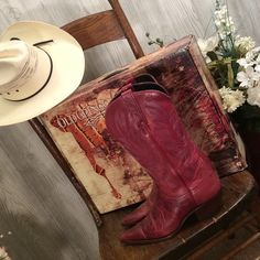 """Authentic beautiful leather cowboy boots Gorgeous reddish or burnt brown in color. All leather including soles. Heels are 1.5"""". Traditional style with detailed stitching. Calf upper is 12"""" or to knee not mid calf. New with box, never worn. Old Gringo Shoes"""