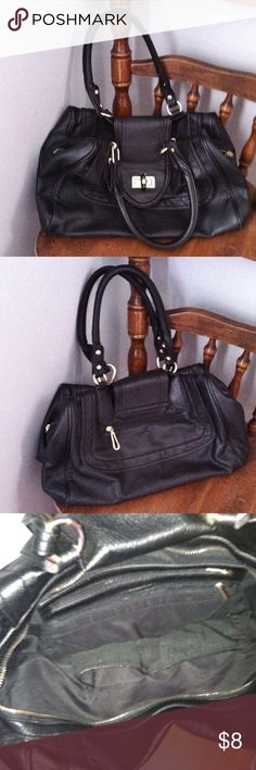• duffle style purse shoulder bag • • good used condition - the main compartment zipper is broken but can still be held shut with the turn lock strap the goes across (see photo) - faux leather - not sure of the brand - color: black with gold hardware - no trades • Bags Shoulder Bags