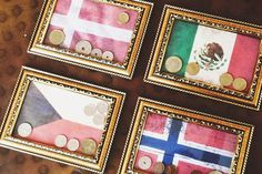 Vacation Inspired Crafts To Help You Relive Your Travel - Vacation Inspired Crafts To Help You Relive Your Travel Memories Foreign Coin Display This Will Be Great For All Of Those Coins And Paper Currency Left Over From Trips Vacation Memories Travel Me # Souvenir Display, Coin Display, Souvenir Ideas, Postcard Display, Craft Projects, Projects To Try, Travel Crafts, Travel Wall, Fun Travel