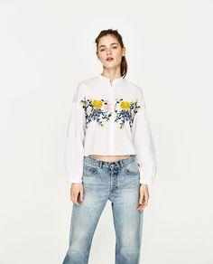 フラワー刺繍シャツ -すべてを見る-シャツ ブラウス-レディース   ZARA 日本