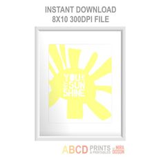 Nursery art You are my sunshine 8x10 PRINTABLE INSTANT DOWNLOAD