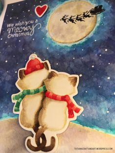 Meowy Christmas Cat Card | Newton's Christmas Cuddles stamp set by Newton's Nook Designs #newtonsnook