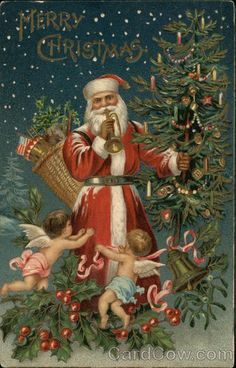 Santa Holding Toys and Tree, Blowing Horn