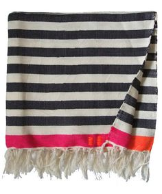 "Medium Blanket - Black/White Stripe. Amazing throw, tablecloth & bedcover! Handmade in a small textile mill in Tunisia by 3 skilled weavers. Add a graphic, colorful punch to your bed, couch or table! - Size: 57"" x 96.5"" - Material: Cotton, Wool (note: some colors are viscose)"