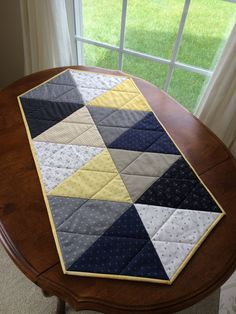 Nautical Quilted Table Runner Navy Blue Grey Yellow and