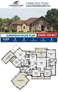 Complete with 3,655 sq. ft., Plan 5445-00467 features a European home with 3 bedrooms, 3.5 bathrooms, an in-law suite, a keeping room, a kitchen island, an open floor plan, a mudroom, and a study. #architecture #houseplans #housedesign #homedesign #homedesigns #architecturalplans #newconstruction #floorplans #dreamhome #dreamhouseplans #abhouseplans #besthouseplans #newhome #newhouse #homesweethome #buildingahome #buildahome #residentialplans #residentialhome European Plan, European House Plans, Best House Plans, Dream House Plans, Floor Plan Drawing, Study Architecture, Construction Cost, Keeping Room, Build Your Dream Home