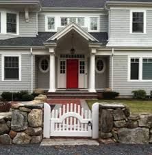 grey house with red door