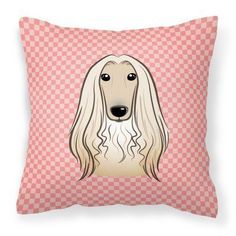 Carolines Treasures Checkerboard Pink Afghan Hound Square Decorative Outdoor Pillow - BB1244PW1414
