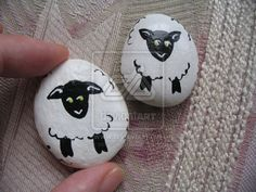 Example of Painted Stones - Make black sheep on the other side and use as math manipulatives