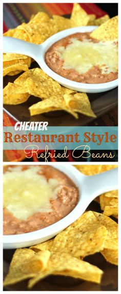 Cheater Restaurant Style Refried Beans This is my cheater recipe to make the canned refried beans have restaurant-like consistency and flavor. I always use this when I make mexican dishes. Mexican Refried Beans, Refried Bean Dip, Canning Refried Beans, Homemade Refried Beans, Mexican Rice And Refried Beans Recipe, Bean Recipes, Side Dish Recipes, Icing Recipes, Ramen Recipes