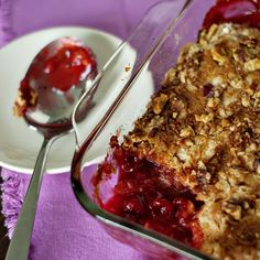 6 Layer Miracle Cobbler: cherry pie filling, 1 can crushed pineapple, dry cake mix, butter, coconut, walnuts -- no mixing.