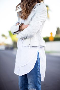 A little outside of the box for me, but I like the idea of a white leather motorcycle jacket!