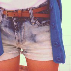 belted denim shorts + long cardigan.