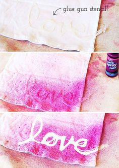 Hot glue gun word or design on plastic paper protector...peel, place, spraypaint, remove and Wa-lah!!