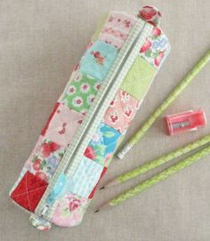 Patchwork version from Round Pencil Case pattern