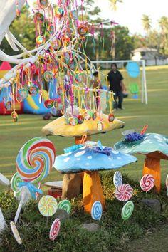 Candy Tree at a Willy Wonka Party via Kara's Party Ideas