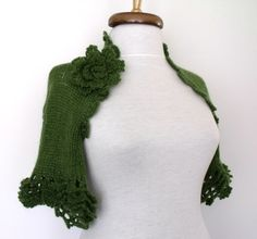 Green Bridal Mohair CASHMERE Shrug With Flower by knittingshop, $70.00