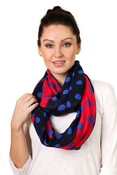 Women's Sofia Red Blue Polka Dots Infinity Scarf Chic Shoulder Wrap