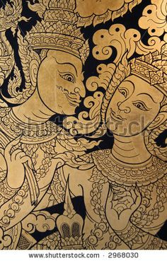 Traditional Thai Art On A Window Shutter In A Temple Stock Photo 2968030 : Shutterstock