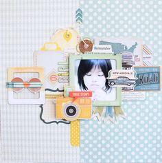 #papercraft #scrapbook #layout.  Tiempo S-foto: Hilo de araña azul: Disposición julio