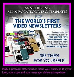 "**Show your company means business.** Easily create a distinctive newsletter from scratch. Enjoy one-click editing. Upload your favorite video. Add text and photos. Put in your logo and use your favorite colors and fonts. Choose from hundreds of ready-made templates. Open rates, click-throughs, replies and forwards will increase faster than you can say, ""just press play.' Take a tour at www.talkfusion.com/1152712 and contact me to get started today!"