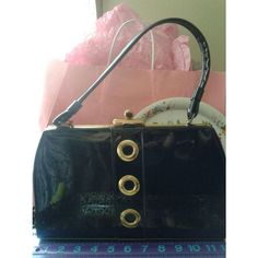 Retro Mod vintage 50s 60s shiny three ring black patent leather handbag purse Listing in the Bags, Handbags & Cases,Vintage Accessories,Vintage,Clothes, Shoes, Accessories Category on eBid United States | 157588765