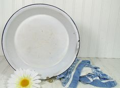 Vintage Black on Grey EnamelWare Pie Plate  Shabby by DivineOrders, $9.00