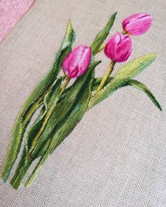 Embroidery and beads Cross Stitch Love, Cross Stitch Flowers, Cross Stitch Designs, Cross Stitch Patterns, Pink Tulips, Tulips Flowers, Pansies, Fashion Sewing, Embroidery Art