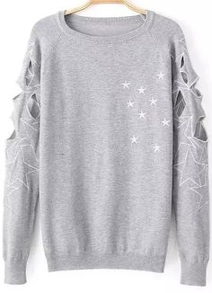 cool cut out work on the sleeves ...  Grey Long Sleeve Hollow Embroidered Sweater 28.33