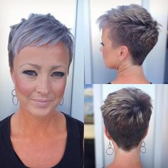 You may recognize Crystal as the client in my haircut transformation BTC nomination. Well she's still loving her short pixie! Short Choppy Hair, Short Sassy Hair, Super Short Hair, Short Grey Hair, Short Pixie Haircuts, Short Hair Cuts For Women, Short Bob Hairstyles, Cool Hairstyles, Short Hair Styles