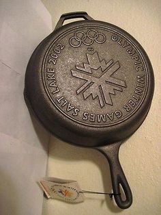 "Lodge Cast Iron 10"" Skillet Frying Pan – New 2002 Olympic Edition $71.00"