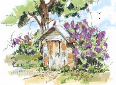 """This piece was sent to us by Erik R. Davis. He used an exciting new medium that is gaining in popularity. The title is """"The Lilac Shed"""". This was done with Chartpak AD Markers and a Pentel Tradio pen. We have posted some of Erik's watercolors in the past and this is just as good. Erik has a very distinctive style!!!! Erik - thank you for sharing your work. #ArtMarkers #Artwork"""