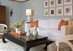 When this room by Angie Hranowsky popped up on House of Turquoise a few days ago. Living Room Orange, Eclectic Living Room, Transitional Living Rooms, My Living Room, Home And Living, Living Room Designs, Living Room Decor, Coastal Living, Orange Rooms