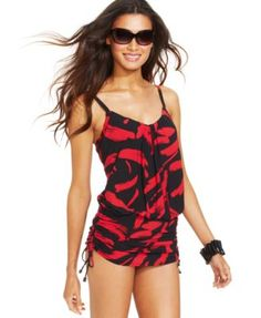 d30f95ce20 Magicsuit Printed Ruched-Hem One-Piece Swimsuit Swimsuit Cover Ups