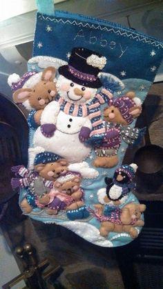 Beaded and Felt Christmas Stocking