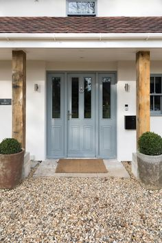Our New Online Door Designer is Now Live! Choose from over 50 styles & colour combinations. The perfect way to start your new house renovations and get home inspiration for your latest DIY project. Whether it be a front door, back door or french doors. Front Door Porch, Porch Doors, Wooden Front Doors, House Front Door, House With Porch, House Entrance, Back Doors, Entry Doors, Front Entry