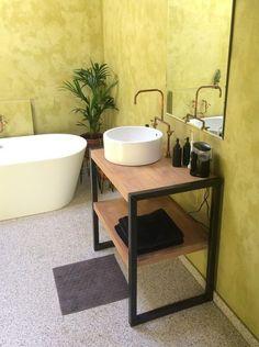 Easy Design Ideas For Unsophisticated Lives Small Bathroom Furniture, Bathroom Vanity Decor, Modern Bathroom Tile, Minimalist Bathroom, Bathroom Shelves, Bathroom Organization, Industrial Bathroom Design, Industrial Design Furniture, Bathroom Design Luxury