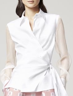 what-do-i-wear: escada resort Cute Skirt Outfits, Cute Skirts, White Shirts, White Blouses, Moda Chic, Over 50 Womens Fashion, Blouse Styles, Blouses For Women, Fashion Outfits