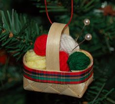 soo sweet - don't know where you'd get this little basket, but i know where to get the wool! Knitting Basket ornament